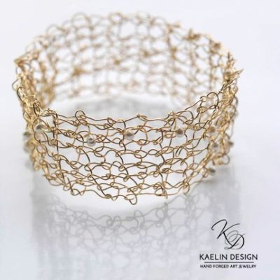 Golden Pearls Knit Cuff Bracelet by Kaelin Design