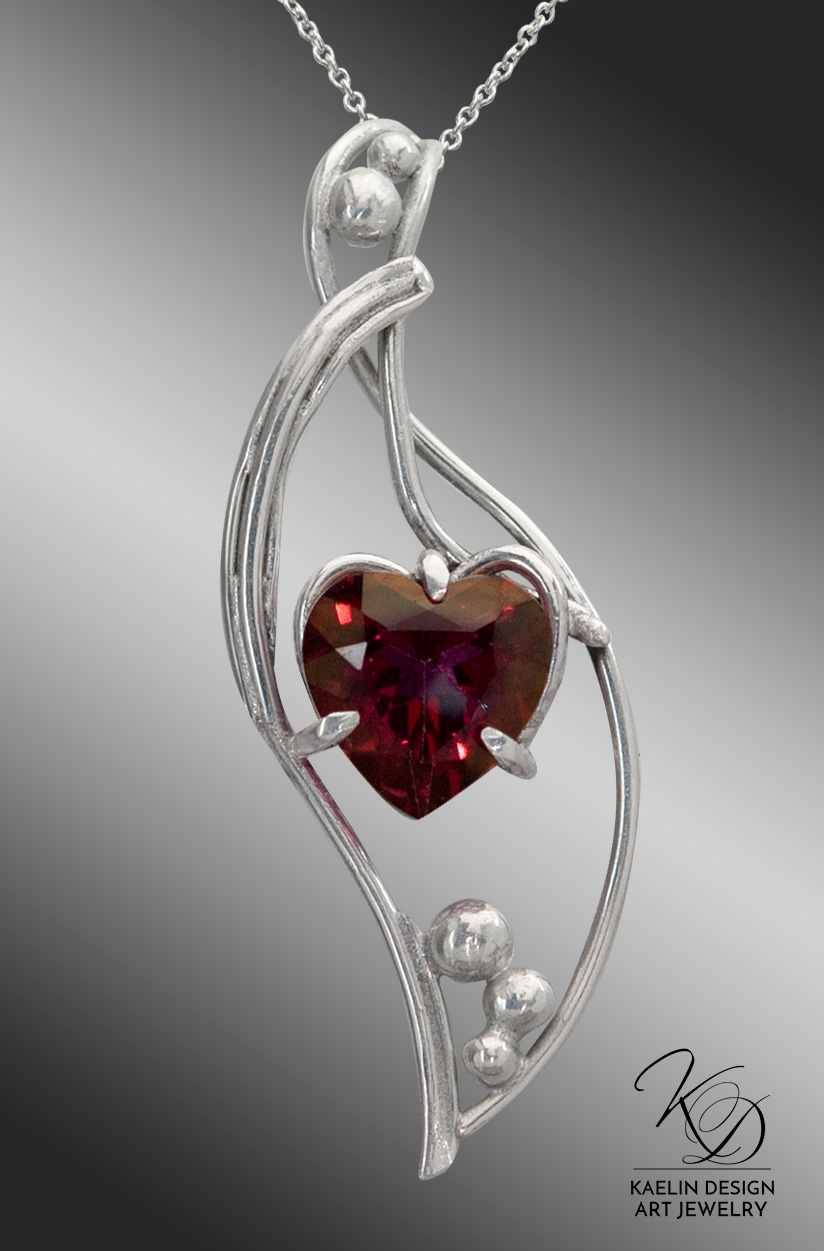 Heart of the Sea Red Topaz Valentine's Silver Pendant Necklace by Kaelin Design