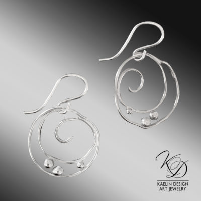 Silver Currents Sterling Silver Ocean Inspired Earrings by Kaelin Design Art Jewelry