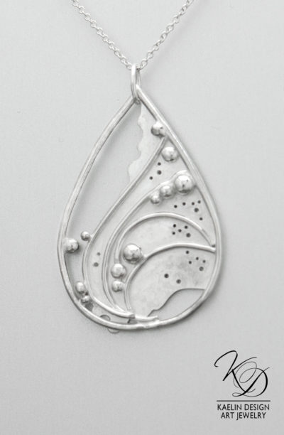 Sea Foam Sterling Silver Ocean inspired Art Jewelry Pendant by Kaelin Design