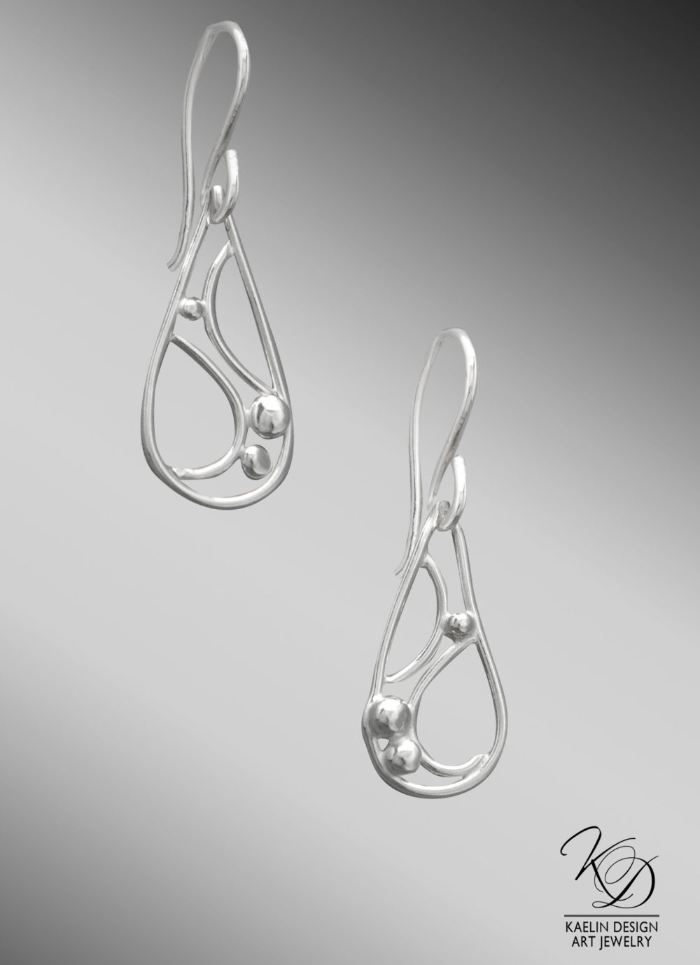 Rippling Currents Ocean Inspired Silver Earrings by Kaelin Design
